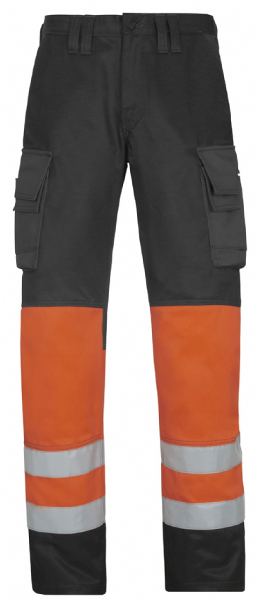 Snickers 3833 High-Vis Trousers, Class 1 (Muted Black / High Vis Orange)